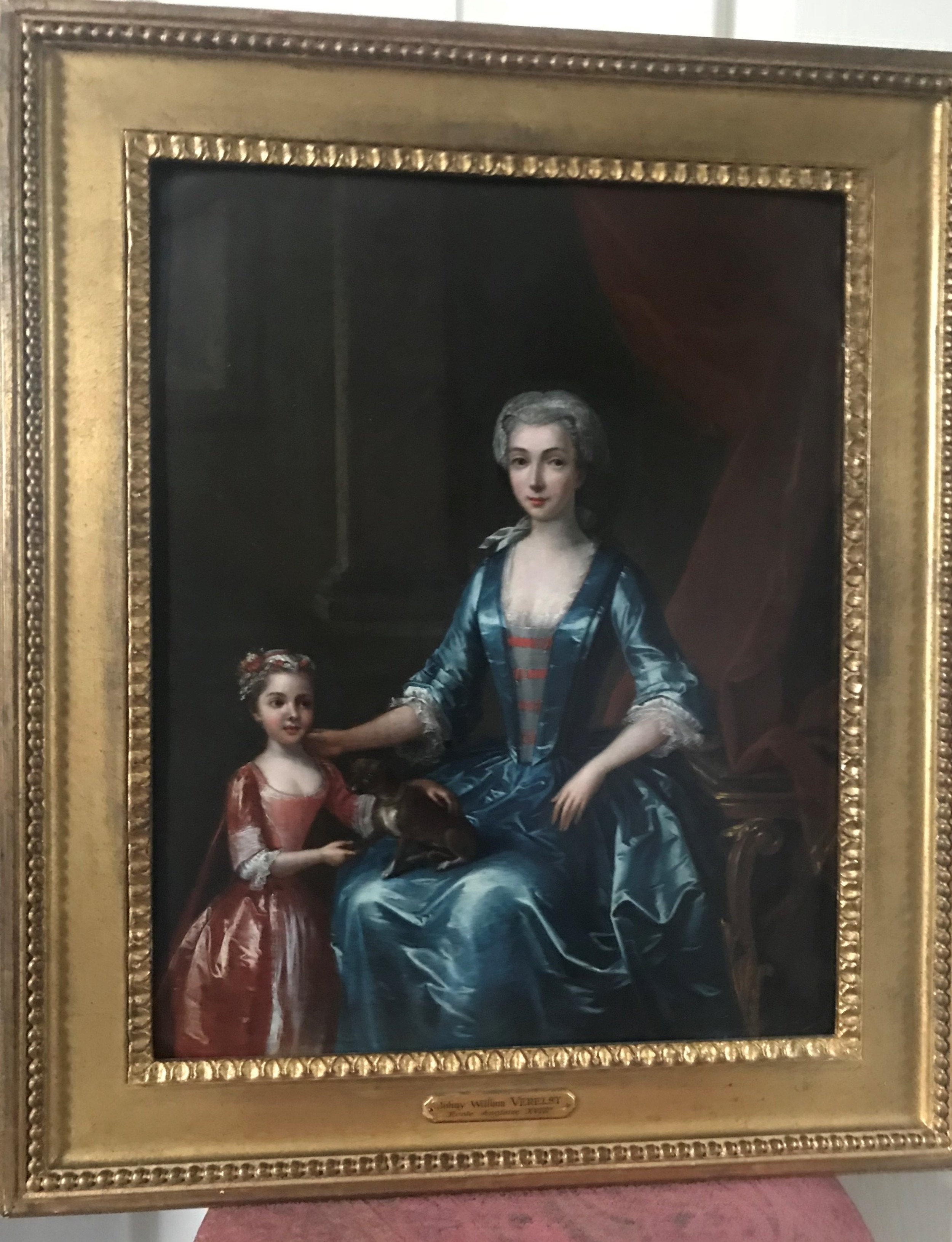 portrait of a lady her daughter and a pet dog 1731 by john and william verelst