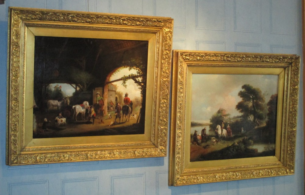 fine large pair of oil paintings after wouwerman