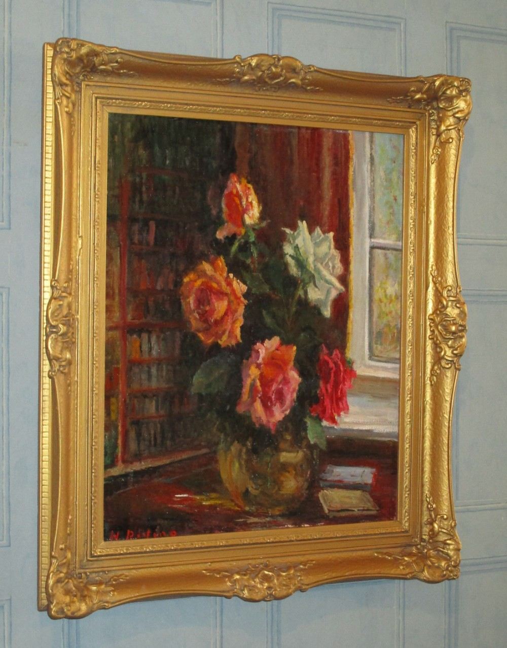 'june roses' oil painting by harold riding rca
