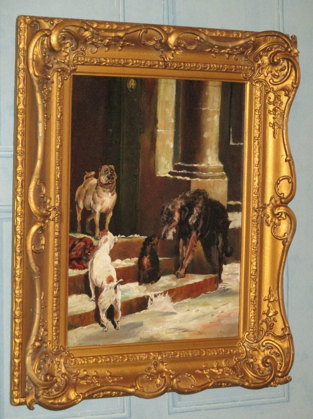 superb victorian oil painting of dogs