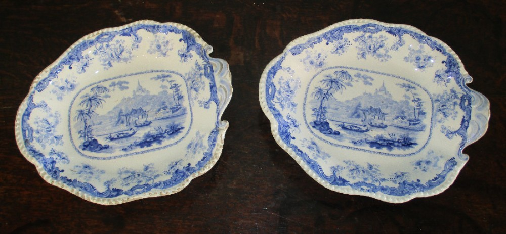pair of blue and white transferware side dishes