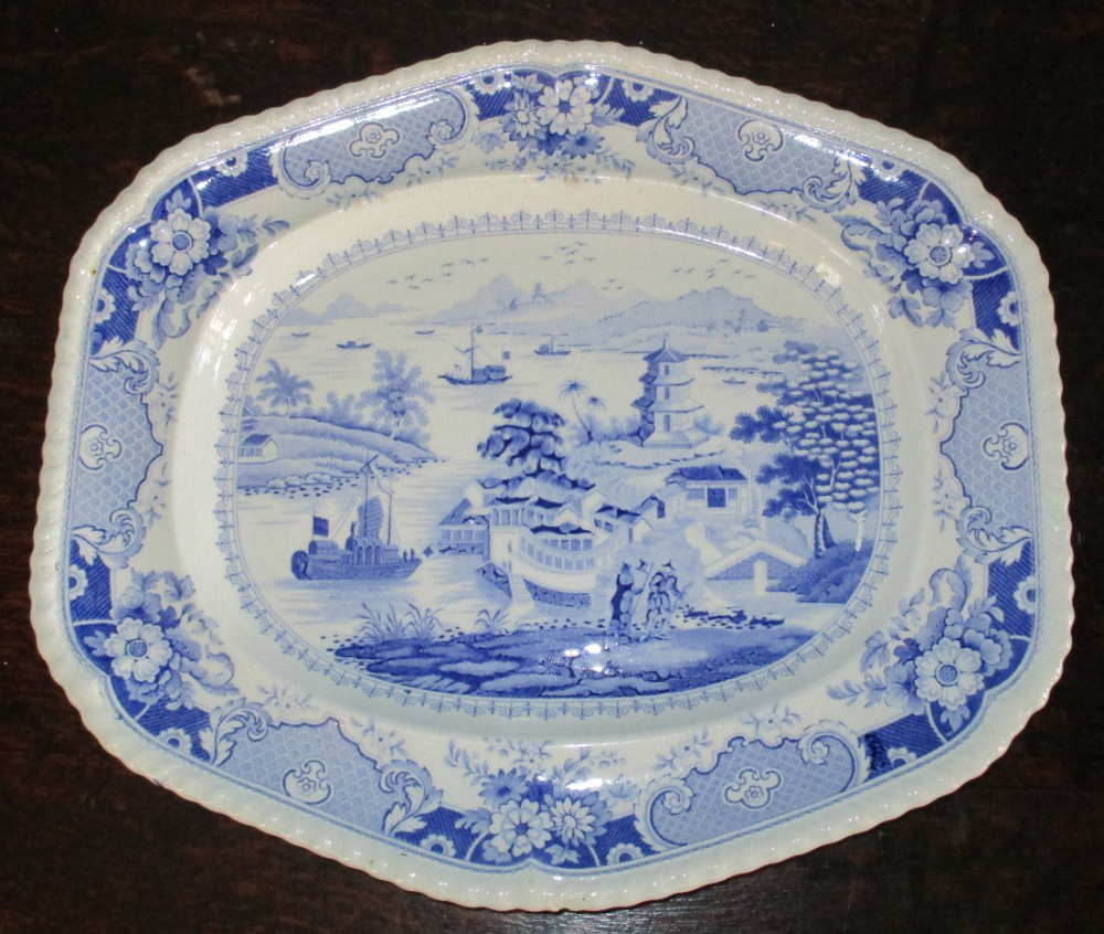 fine ridgways blue and white transfer platter