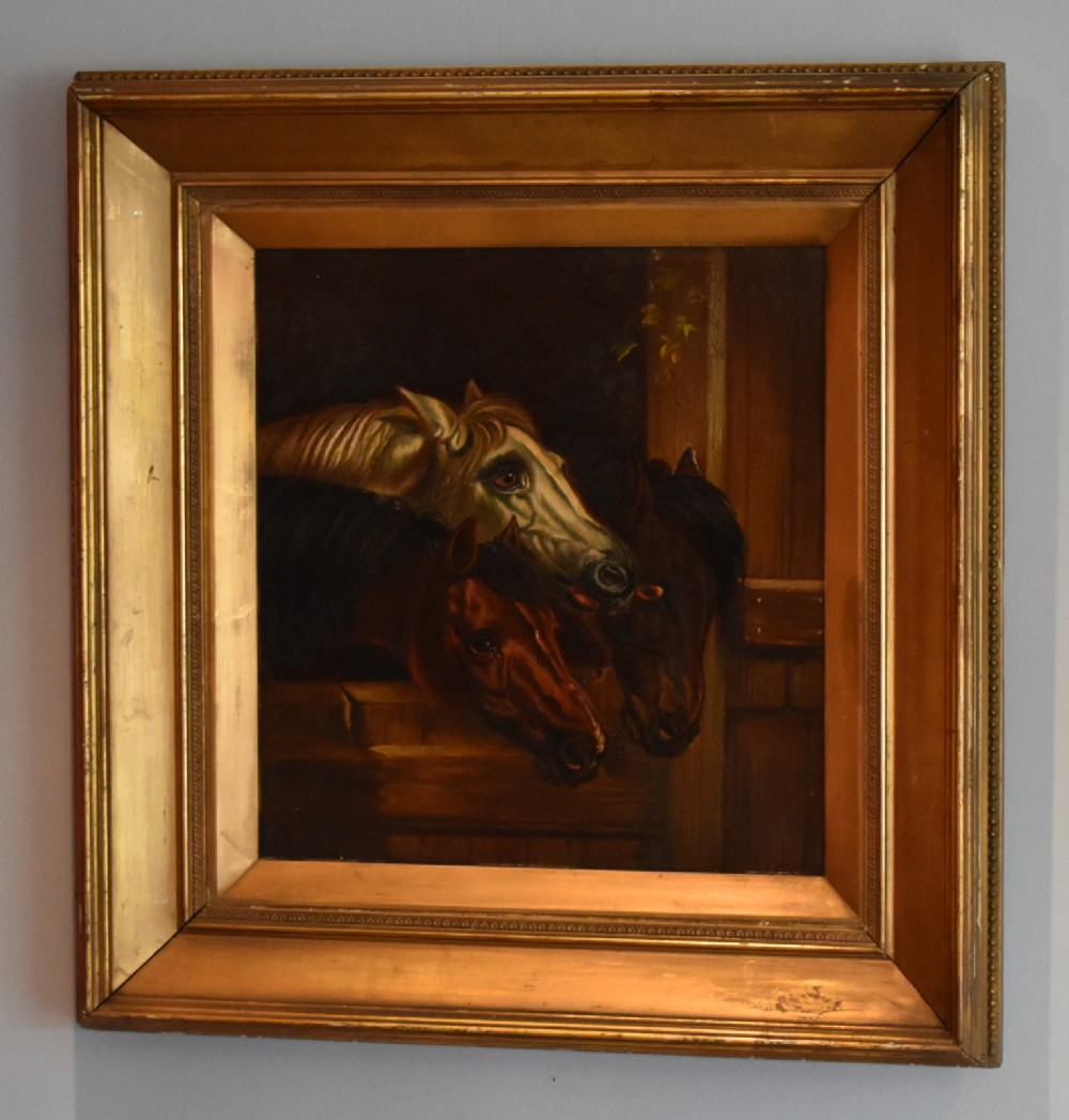 fine victorian oil painting of horses after john frederick herring