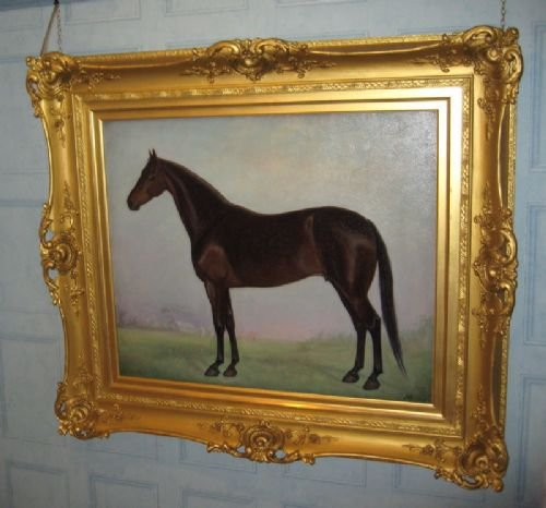 large edwardian horse oil painting