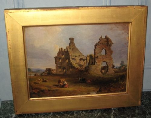 victorian irish castle oil painting
