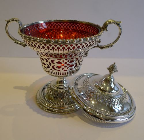 antique english silver plate cranberry glass lidded sugar box c1880