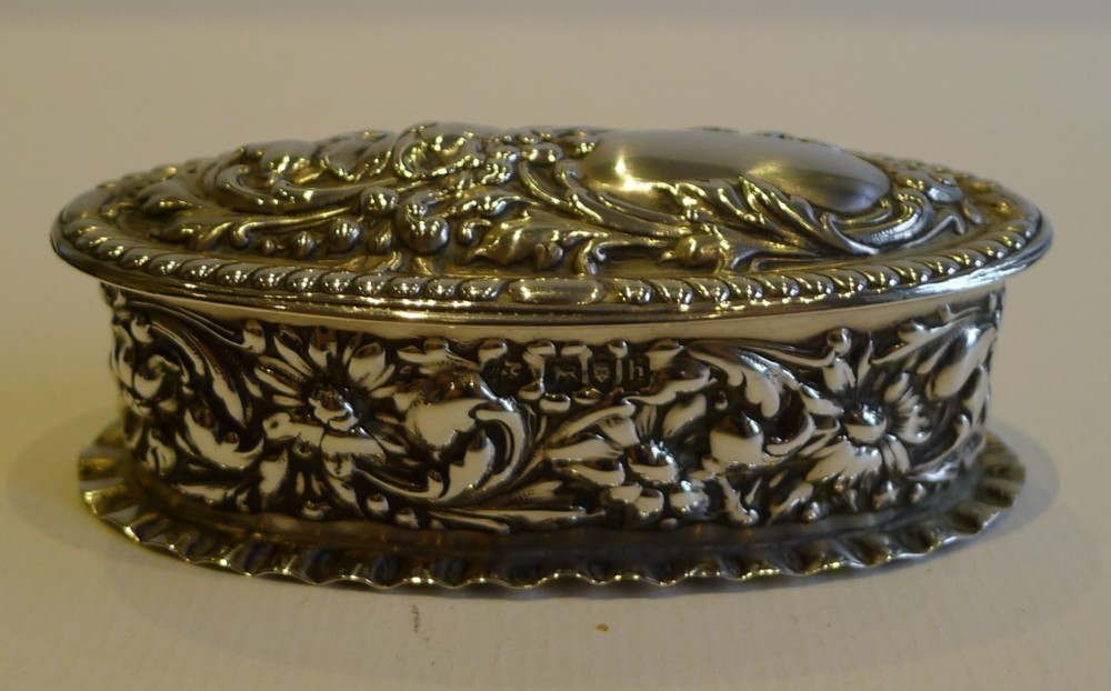 antique sterling silver ring box for two rings
