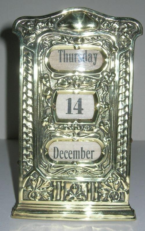 stylish antique art nouveau desk top art nouveau perpetual calendar - Stylish Antique Art Nouveau Desk Top Art Nouveau Perpetual Calendar
