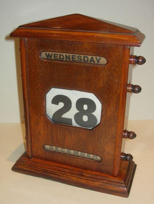 oversized antique english mahogany perpetual desk top calendar - Oversized Antique English Mahogany Perpetual Desk Top Calendar