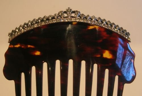 regal antique tortoise shell hair comb with paste stones crown