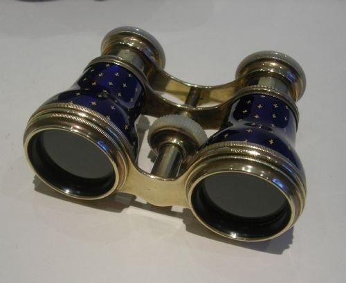 exquisite pair french cobalt blue enamel and mother of pearl opera glasses - photo angle #2