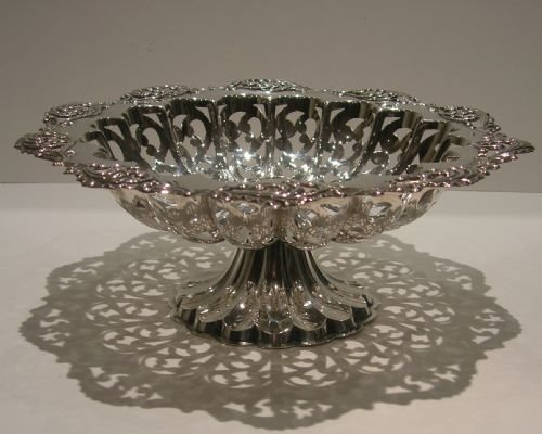 Magnificent Antique Sterling Silver Fruit Bowl Or Comport