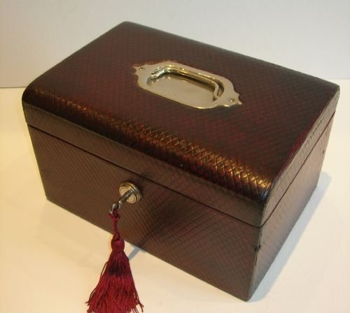 Antique English Red Leather Covered Jewelry Box C1870 99467