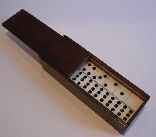 Antique English Boxed Set Bone Ebony Wood Dominoes C1890 109460