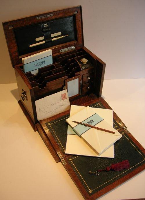 Victorian English Oak Stationery Cabinet Writing Box