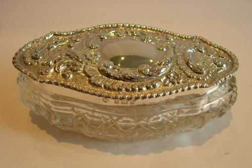 cut crystal and sterling silver box edwardian