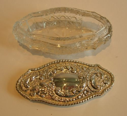 cut crystal and sterling silver box edwardian - photo angle #2