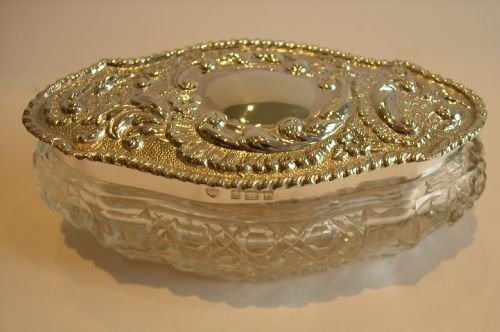 cut crystal and sterling silver box edwardian - photo angle #5
