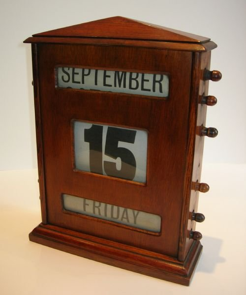 Grand Oversized Antique English Wooden Desk Top Perpetual Calendar C