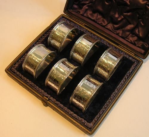 boxed set six antique english silver plate napkin rings c1890