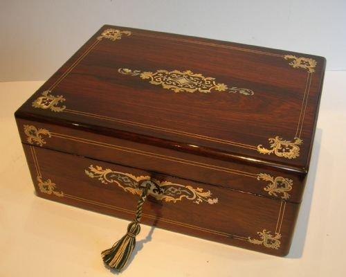 exquisite antique english inlaid rosewood sewing box c1850