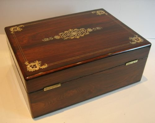 exquisite antique english inlaid rosewood sewing box c1850 - photo angle #2