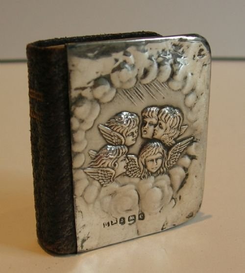 miniature sterling silver    leather prayer book