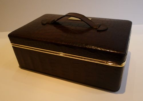 antique english crocodile brass jewelry box c1890 - photo angle #2