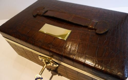 antique english crocodile brass jewelry box c1890 - photo angle #5
