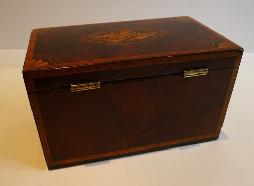 stunning english georgian shell inlaid tea caddy c1805 - photo angle #3