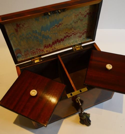 stunning english georgian shell inlaid tea caddy c1805 - photo angle #5