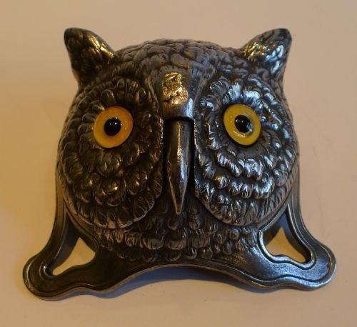 rare german polished figural desk bell with original glass eyes c1900 owl - Rare German Polished Figural Desk Bell With Original Glass Eyes C
