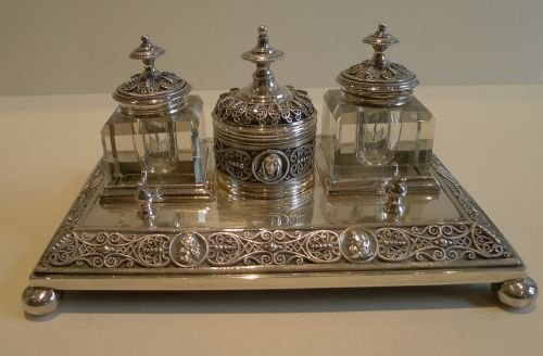 stunning antique silver plated inkstand inkwells desk set c1890 - Stunning Antique Silver Plated Inkstand / Inkwells / Desk Set C.1890