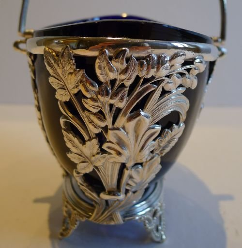 pretty antique english silver plated sugar basket bristol blue glass lined c1880 - photo angle #3