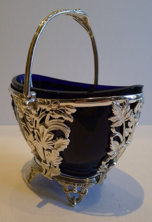 pretty antique english silver plated sugar basket bristol blue glass lined c1880 - photo angle #5