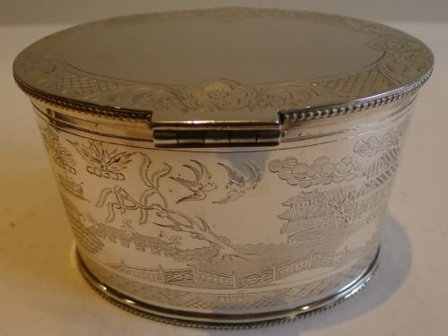 rare antique english willow engraved large tea caddy in silver plate c1880 - photo angle #2