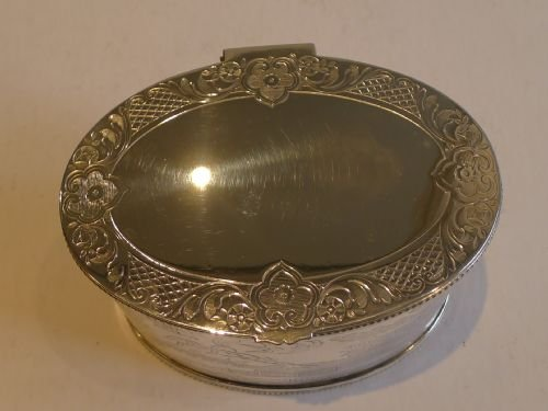 rare antique english willow engraved large tea caddy in silver plate c1880 - photo angle #3