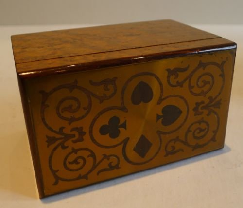 antique french burr holly playing card box brass rosewood lid c1910