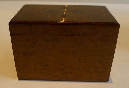 antique french burr holly playing card box brass rosewood lid c1910 - photo angle #2