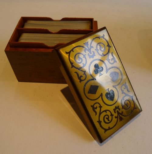 antique french burr holly playing card box brass rosewood lid c1910 - photo angle #3