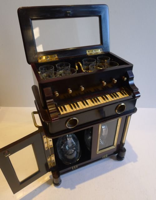 rare antique novelty automated miniature musical liquor cabinet two airs c1910 - photo angle #4