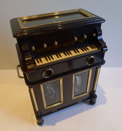 rare antique novelty automated miniature musical liquor cabinet two airs c1910 - photo angle #5