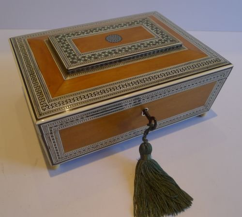 early 19th century angloindian sandalwood ivory sadeli mosaic work box c1820