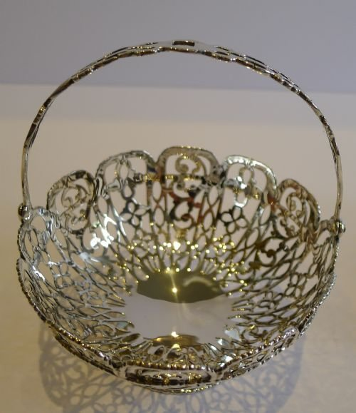 stunning pair antique sterling silver baskets chester 1907 - photo angle #3