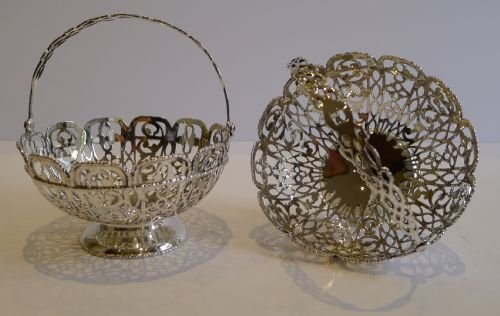 stunning pair antique sterling silver baskets chester 1907 - photo angle #5
