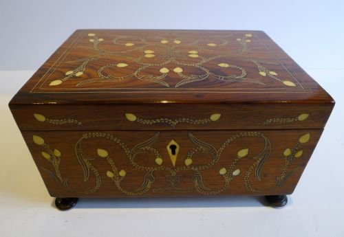 Stunning Antique Angloindian Ivory Inlaid Rosewood Jewellery Box C