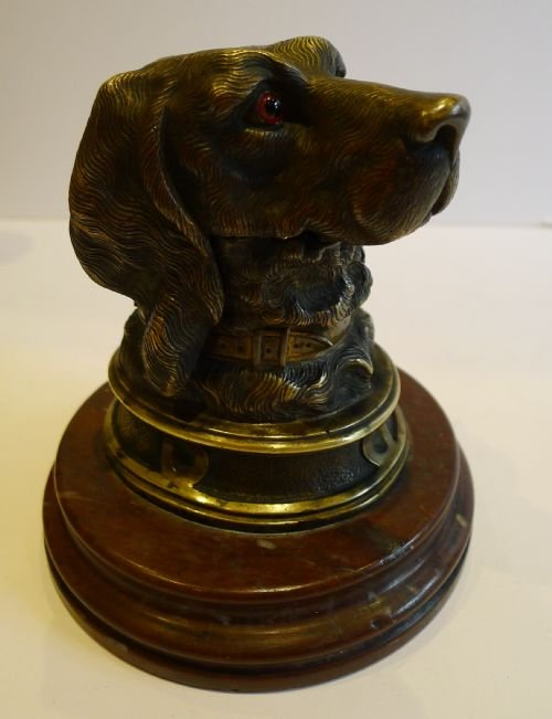 antique english figural bronze inkwell dog original glass eyes marble base c1880
