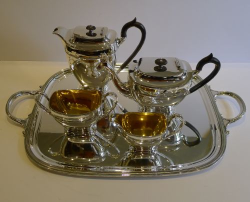 top quality antique english silver plated tea set with tray by james dixon c1900 & Top Quality Antique English Silver Plated Tea Set With Tray By James ...