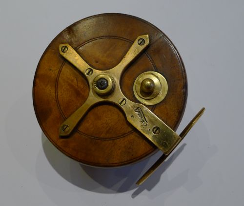 Vintage english wood brass fishing reel by milward 39 s of for Vintage fishing reels for sale