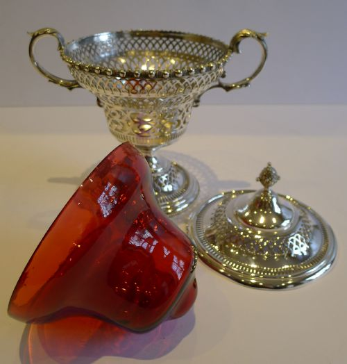 antique english silver plate cranberry glass lidded sugar box c1880 - photo angle #2